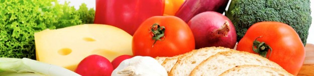 vegetables surrounding cheese and bread