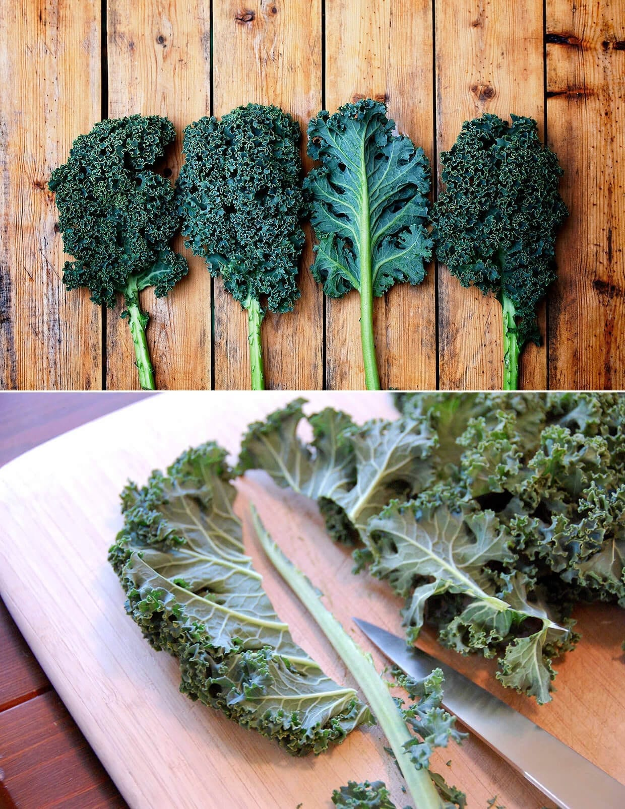 kale shopped on a wooden chopping board