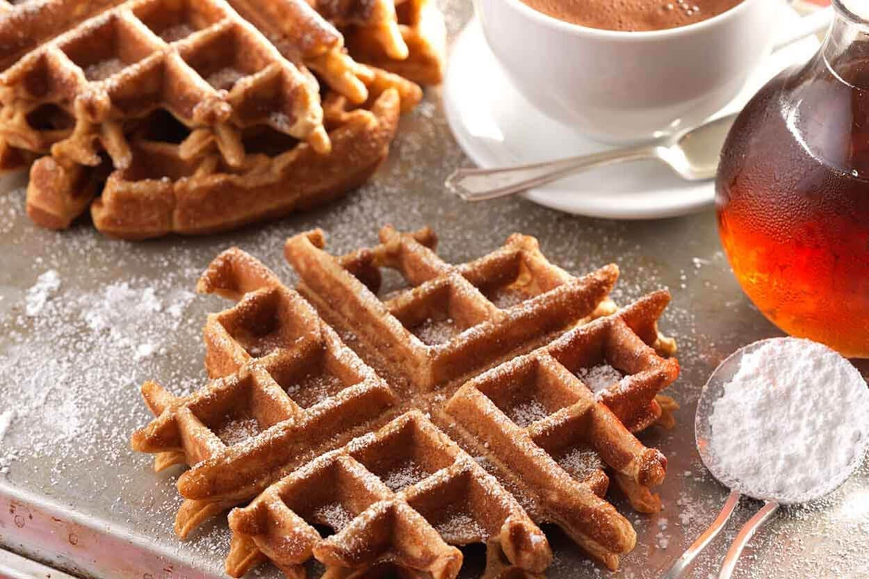 Festive and healthy gingerbread oat waffle recipe