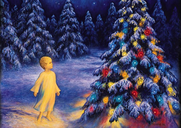illustration of a boy beside a chistmas tree