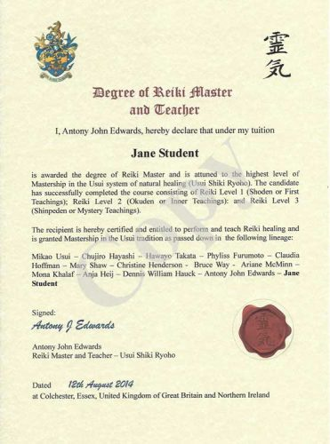 Sample reiki master/teacher diploma