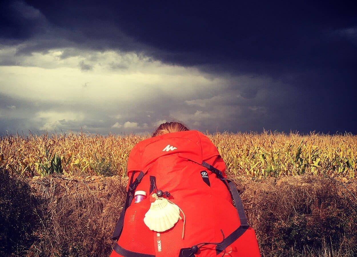 hiking in a field