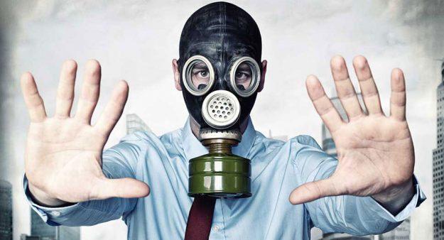 businessman in a gasmask
