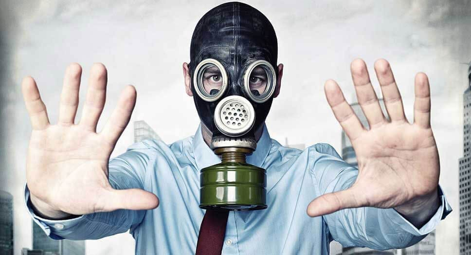 businessman in a gasmask