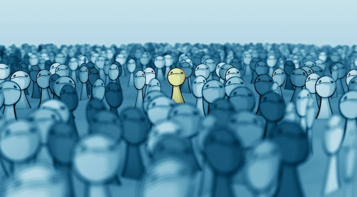 illustration of an individual in a crowd