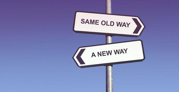 new way road sign arrows