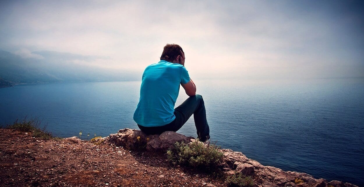 Sad Lonely Boy On A Hill Overlooking The Sea Snhs School Of