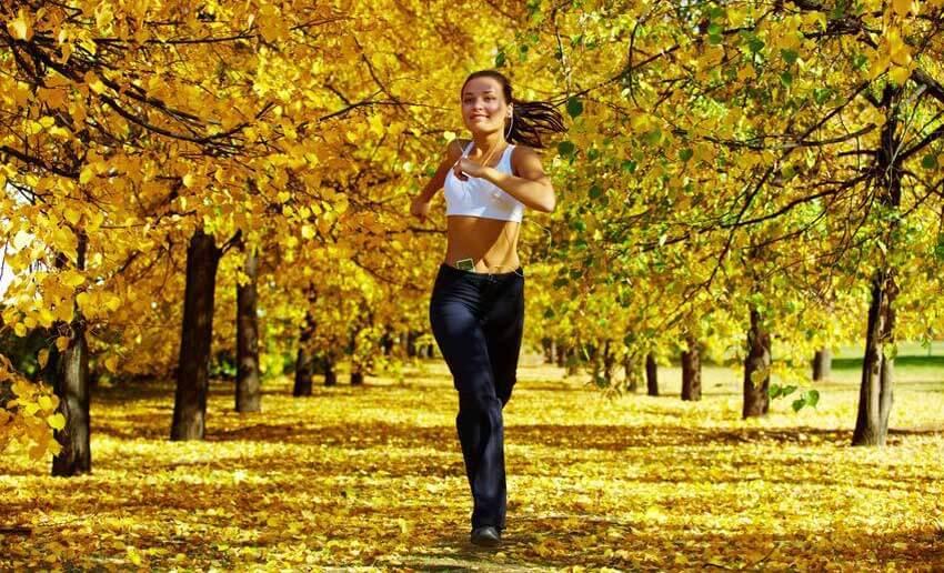 Girl jogging in the park