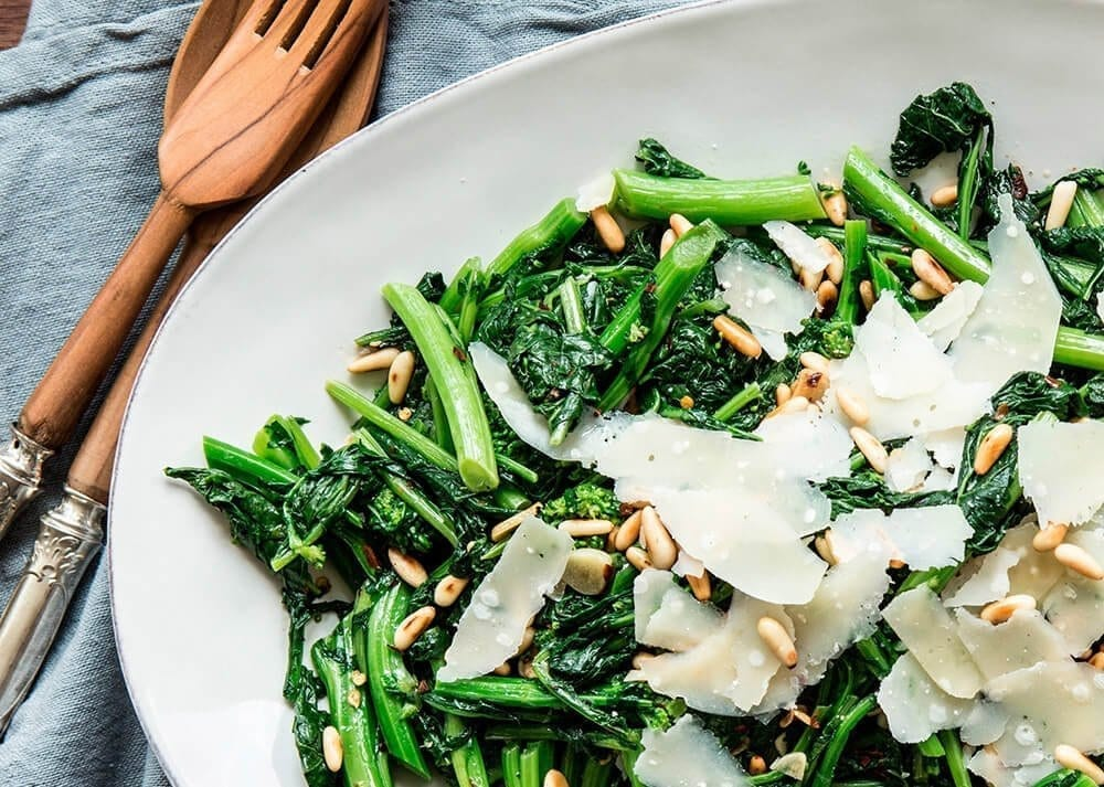 brocolli with pine nuts