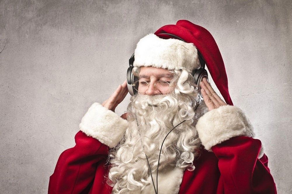 Father Christmas wearing headphones