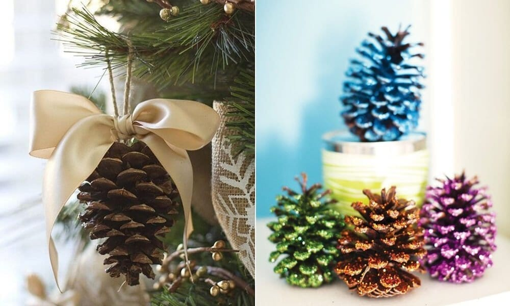 glittery pine cone decorations