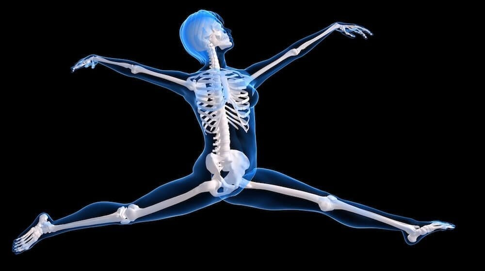 illustration of a skeleton leaping