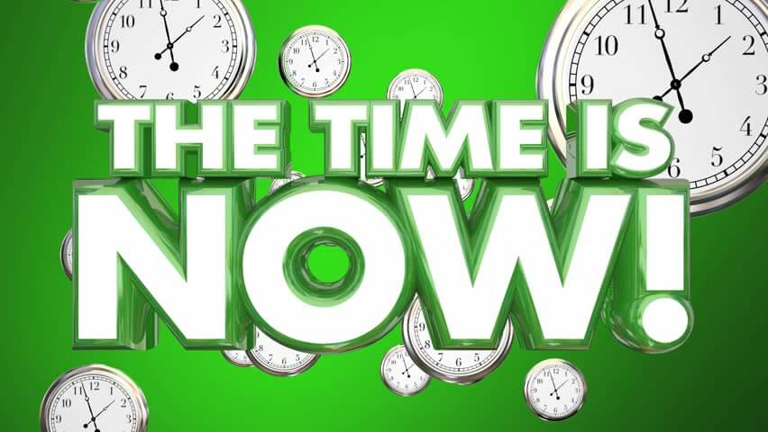 the time is now banner