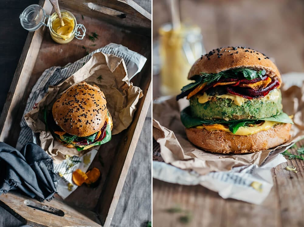 vegan burger side by side