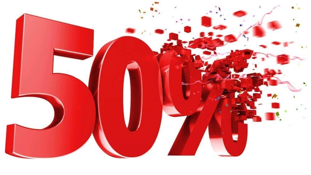 50% savings