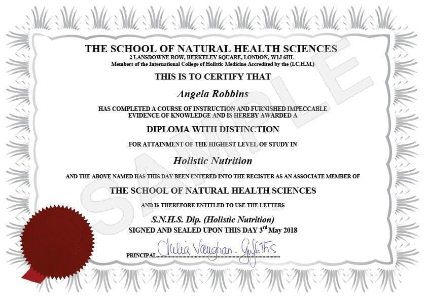 SNHS Sample Diploma | School of Natural Health Sciences