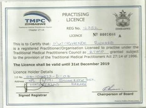Richard Mutingwende 2019 Practice License